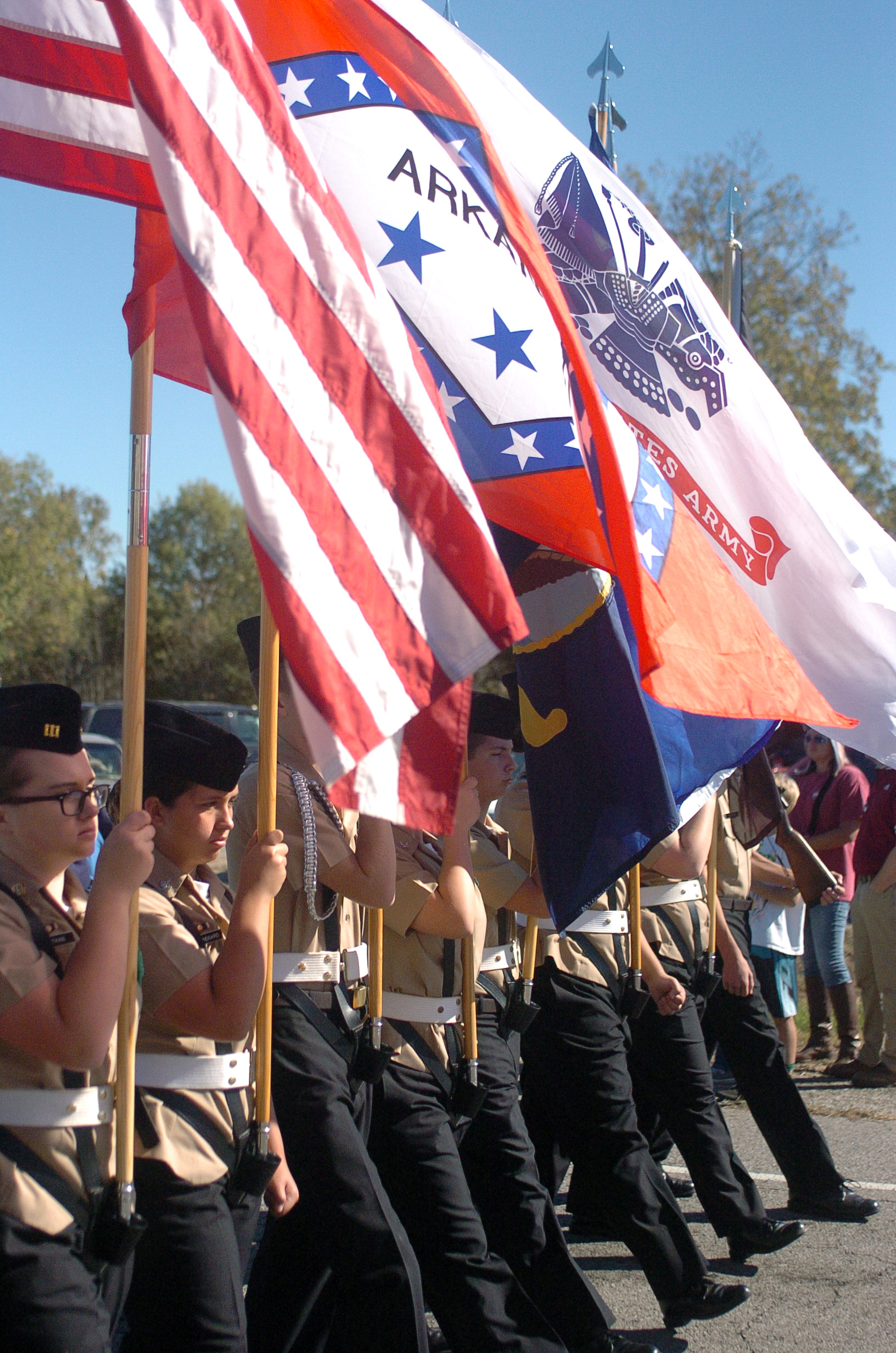 "A colorguard marches during the fifth annual Veterans Day Parade at Chaffee Crossing was held on Saturday, November 12, 2016 at the Chaffee Crossing Historic District in Fort Smith. The parade's theme was ""Women In The Military,"" and was held to honor veterans from all branches of service and all U.S. wars. (Please include credit when using this photo) STEVE MARQUEZ/StMarq Photography"