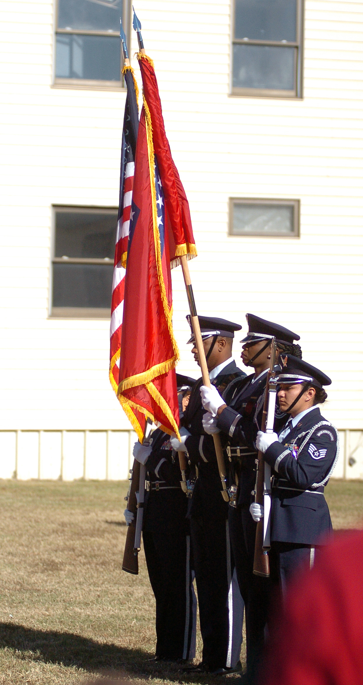 "A colorguard from the 188th wing stands during a ceremony at the fifth annual Veterans Day Parade at Chaffee Crossing was held on Saturday, November 12, 2016 at the Chaffee Crossing Historic District in Fort Smith. The parade's theme was ""Women In The Military,"" and was held to honor veterans from all branches of service and all U.S. wars. (Please include credit when using this photo) STEVE MARQUEZ/StMarq Photography"